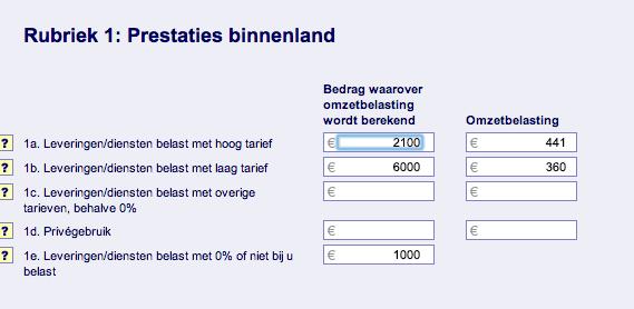 aangifte omzetbelasting-Mijn Johan-BTW aangifte-Prestaties Binnenland